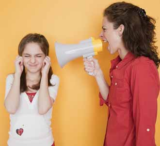 Mom yelling at daughter with megaphone